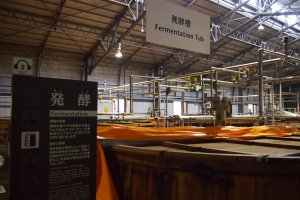After mashing, the malt is left to ferment in huge wooden tubs.