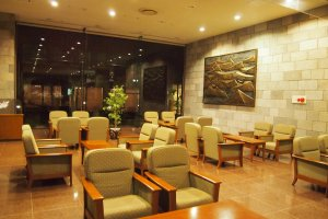 The spacious lobby of Tokachi Makubetsu Onsen Grandvrio Hotel.