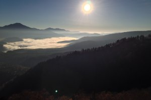 View from atop Sounkyo Ropeway a little after sunrise