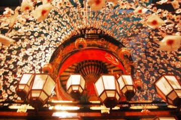 Sakura decoration in one of Yatai