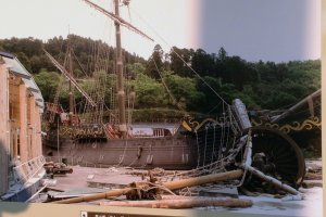 A picture at the museum details the extensive tsunami damage to the ship. After two years of restoration work the ship is once again open for public viewing.