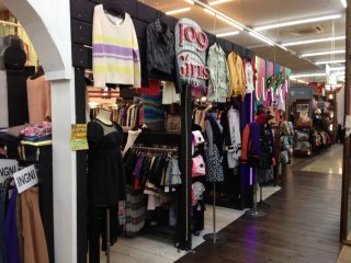 Most of the center of the store is devoted to apparel and accessories