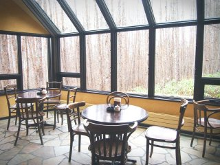 Through these large windows, diners can view the scenery of the forest, which changes according to the season.