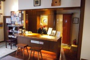 The front desk of the Sawanoya's Ryokan.