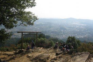 <p>Enjoying the view from the second torii of Kotahira Shrine</p>