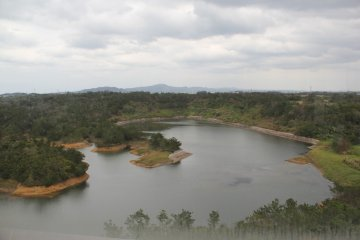 <p>The reservoir created by the Kurashiki Dam was once a rural village prior to World War II, then used by the U.S. military as a supply depot prior to the creation of the Dam</p>