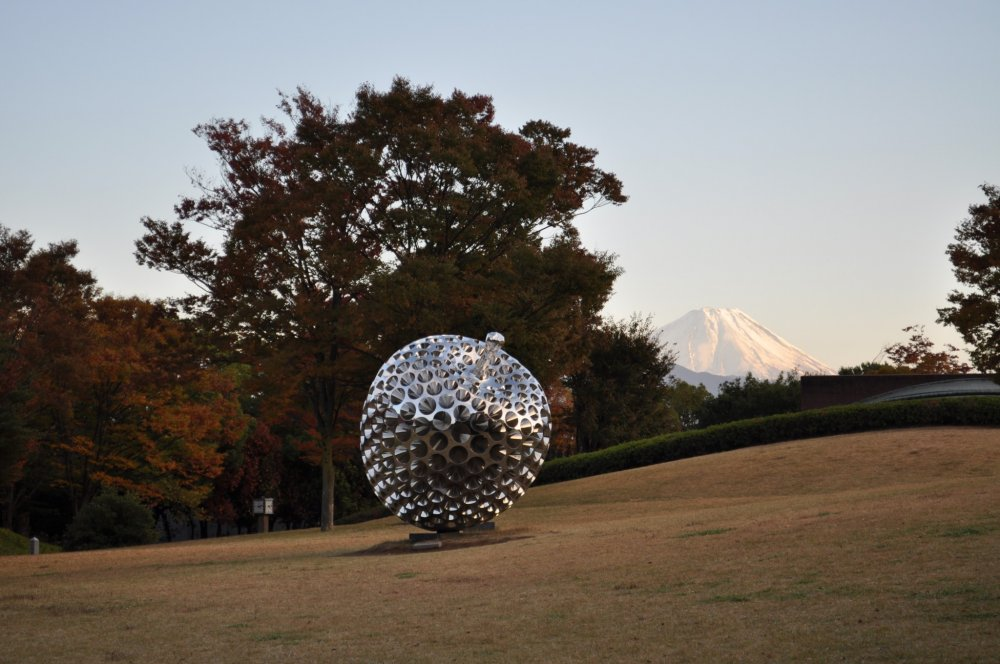 A spiky sculpture with Mt. Fuji in the background