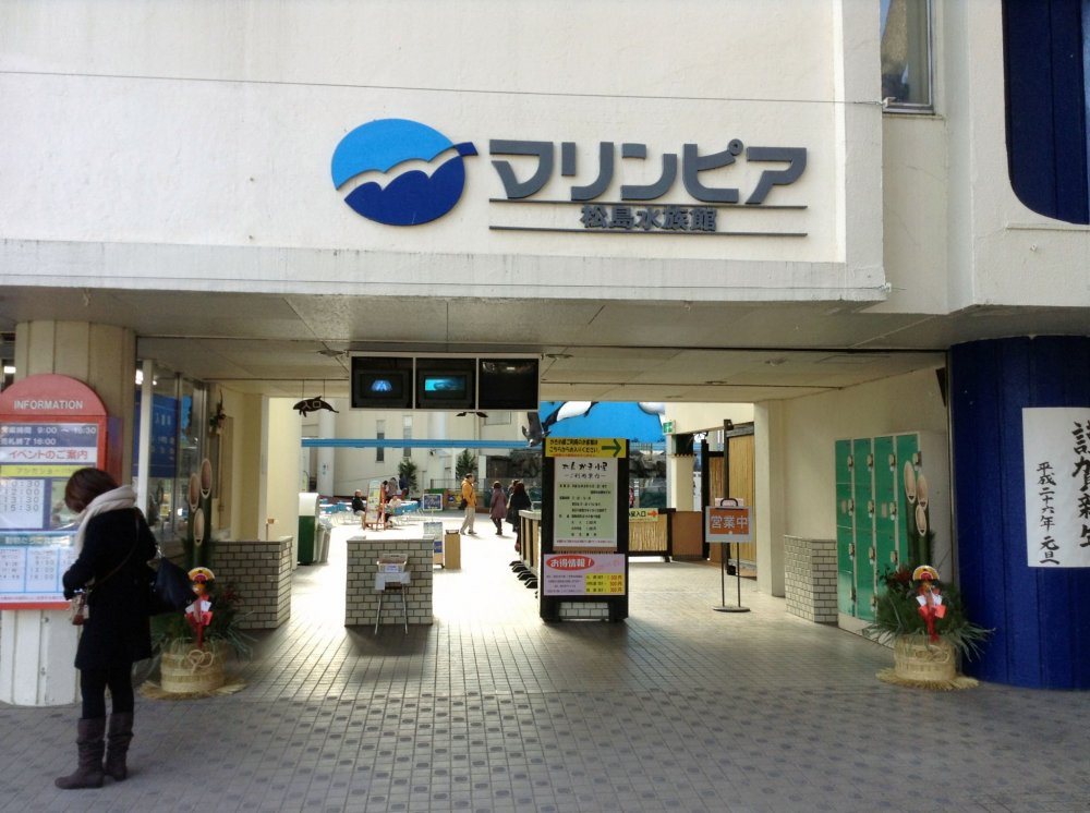 The entrance to Marinepiais down a side street across from a local shrine. Despite its agingfacilities, the aquarium is amazing and still regularly draws crowds.