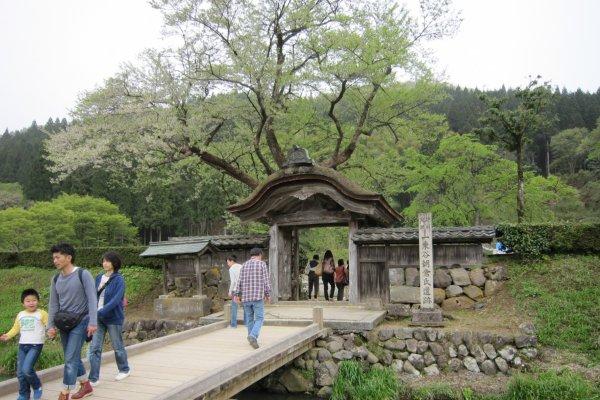 朝倉館跡の唐門。内部が朝倉氏の居館跡だ