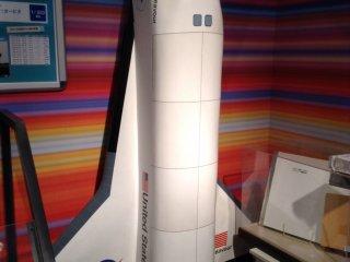 A rocket ship provides a great backdrop for photos.