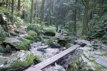 <p>Navigating the rocks at the base of the waterfall.</p>