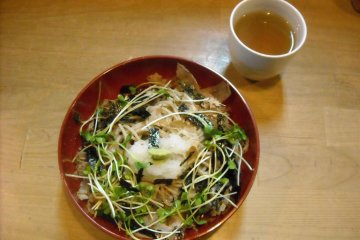Fresh soba noodles and tea at one of Yu no Zen's several dining spaces.