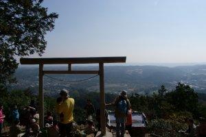 Admiring the view from Mt. Hiwada's Kotahira Shrine