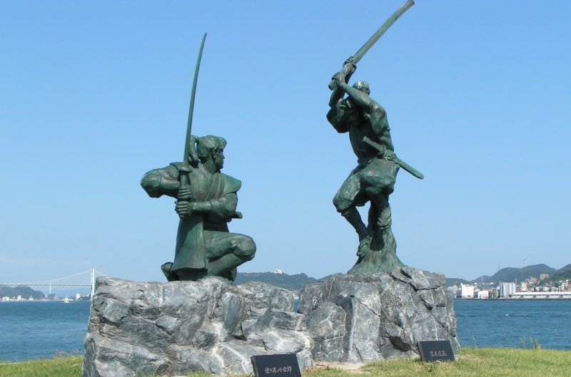 The statues of Miyamoto Musashi and Sasaki Kojiro in their famous duel
