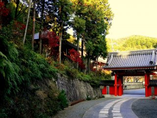 Honkokuji has two gates. The first is painted red