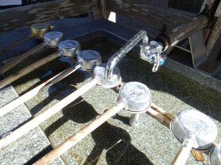 A unique but efficient water spout on this purification fountain
