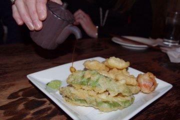 <p>Camembert and Avocado Tempura</p>