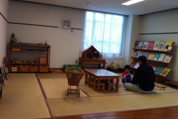 <p>Tatami playroom in the &#39;salon&#39; on the ground floor</p>