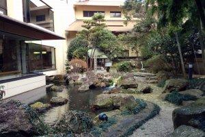 The inner garden of the hotel.