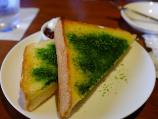 The matcha green tea toast is a savory and sweet snack.
