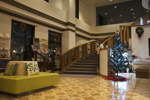 The lobby was decorated with a small Christmas tree when I was there.