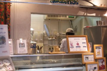 <p>The frozen yogurt is blended on the spot.</p>