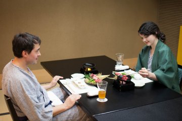<p>Eating in our private dining room</p>