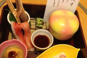อาหารเซ็ทแรก และขาปูซาซิมิ