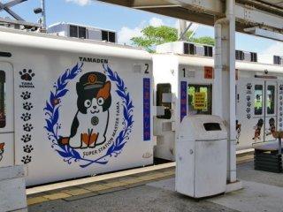 รถไฟน้องแมวชื่อว่าทามะ ตกแต่งด้วยสัญลักษณ์ น้องแมวนายสถานีทามะ