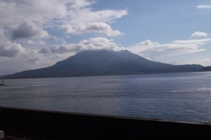 The view from the garden across the bay to Sakurajima