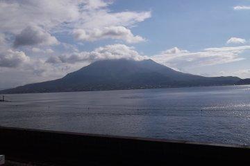 <p>The view from the garden across the bay to Sakurajima</p>