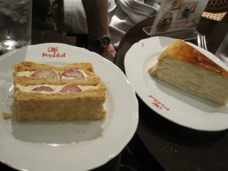 Strawberry mille-feuille and mille-crepe desserts