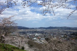 One of the several excellent views from the hill. This is looking southwest over Shiroishi.