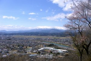 A wider angle shot of Ou Mountains and Ogawara town.