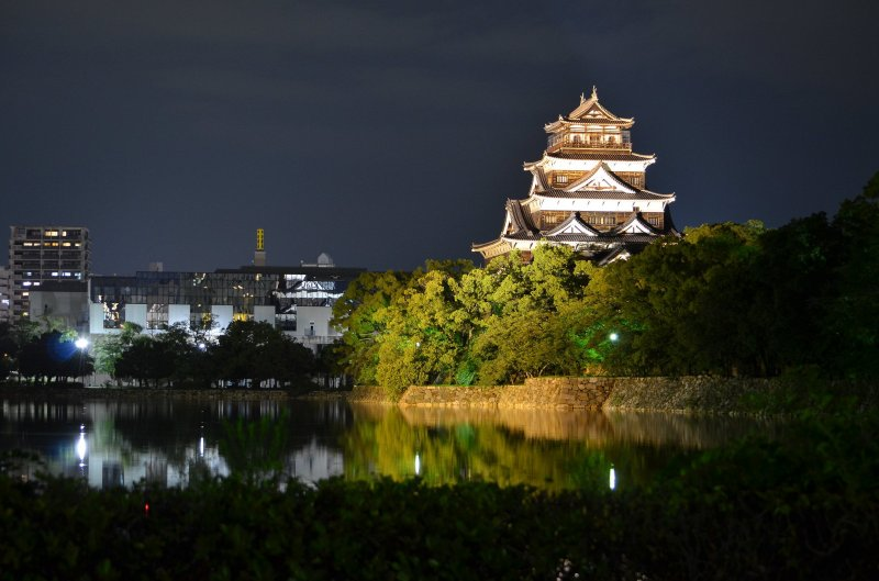 Hiroshima Castle at night